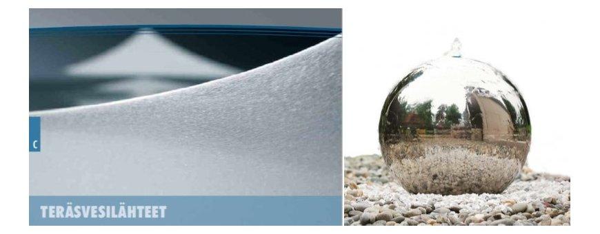 Teräksiset laadukkaat suihkulähteet ja vesilähteet sekä RST-suihkulähteet sisäkäyttöön.