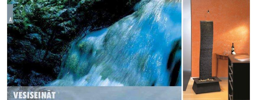Vesiseinät - seinäsuihkulähteet kotiin ja aulaan, terassille tai puutarhaan. Seinäsuihkulähde voi olla kiveä tai metallia.