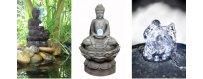 Vesi on elämää. Buddha-patsaita laitetaan usein ulkona puutarhoihin, puistoihin ja myös terasseille, parvekkeelle sekä oleskelutiloihin ja rentoutumishuoneeseen.