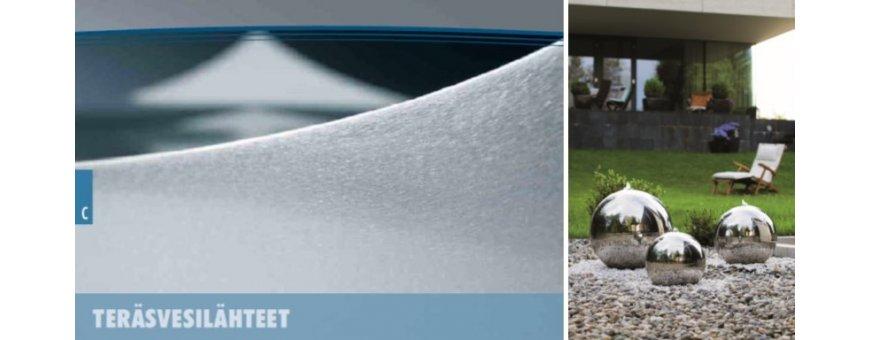 Teräsvesilähteet kestää ja ovat helppohoitoisia. Design suihkulähteitä ulos ja toimistoon sekä julkitiloihin.